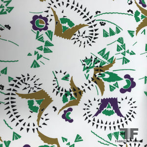 Italian Abstract Silk Printed Georgette - White/Green/Purple - Fabrics & Fabrics