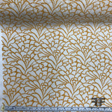 Abstract Printed Crepe de Chine - Mustard/White - Fabrics & Fabrics