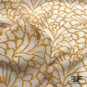 Abstract Printed Crepe de Chine - Mustard/White