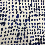 Abstract Polka Dot Printed Silk Charmeuse - Blue / White - Fabrics & Fabrics NY