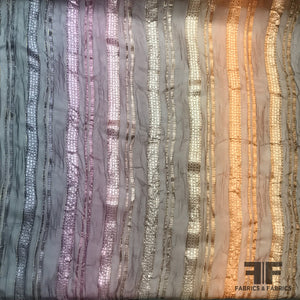 Striped Metallic Crinkle Burnout Chiffon - Ombre - Fabrics & Fabrics
