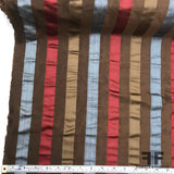 Italian Multicolor Striped Yarn Dyed Silk Satin/Taffeta - Brown - Fabrics & Fabrics