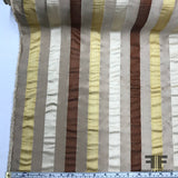 Italian Multicolor Striped Yarn Dyed Silk Satin/Taffeta - Beige - Fabrics & Fabrics