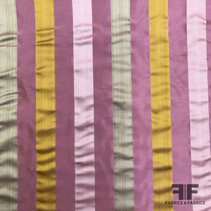 Italian Multicolor Striped Yarn Dyed Silk Satin/Taffeta - Pink - Fabrics & Fabrics