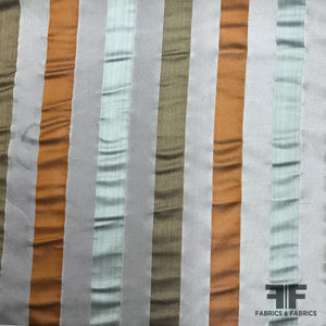 Italian Multicolor Striped Yarn Dyed Silk Satin/Taffeta- Cool Neutrals - Fabrics & Fabrics