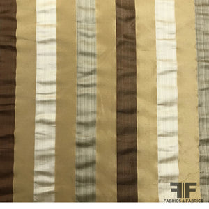 Italian Multicolor Striped Yarn Dyed Silk Satin/Taffeta - Neutrals - Fabrics & Fabrics