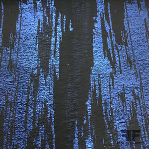 Italian Abstract Stretch Brocade - Metallic Blue/Black - Fabrics & Fabrics