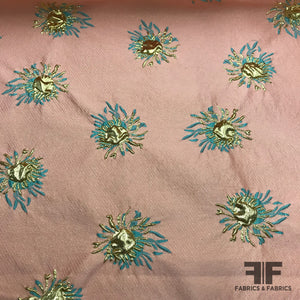 Novelty Abstract Metallic Brocade - Peach/Green/Gold - Fabrics & Fabrics