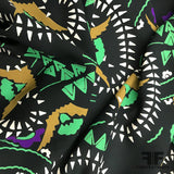 Italian Abstract Silk Georgette- Black/Green/White/Mustard - Fabrics & Fabrics