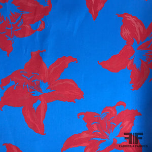 J Mendel Large Floral Reversible Brocade - Red / Blue - Fabrics & Fabrics