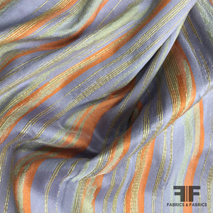 Italian Reversible Striped Brocade - Purple/Orange - Fabrics & Fabrics