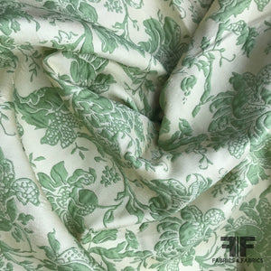 Italian Floral Brocade - Green/Ivory