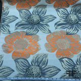 Large Scale Floral Metallic Brocade - Orange/Grey - Fabrics & Fabrics