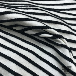 Raised Stripe Textured Brocade - Black & White - Fabrics & Fabrics