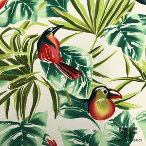 Tropical Bird Printed Cotton & Silk Blend Print - Multicolor - Fabrics & Fabrics