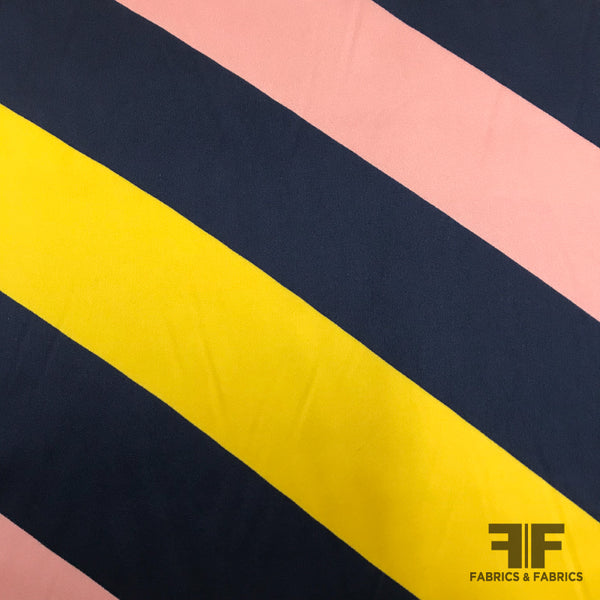 Diagonal Striped Silk Charmeuse - Navy/Yellow/Pink - Fabrics & Fabrics NY