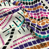 Geometric Border Printed Silk Georgette - Multicolor - Fabrics & Fabrics