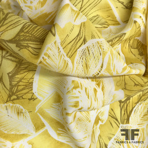 Floral Printed Silk Crepe - Yellow/White