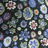 Floral Printed Crinkled Silk Chiffon - Purple/Green/Black - Fabrics & Fabrics