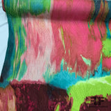 Abstract Silk Printed Jacquard - Pink/Blue/Green - Fabrics & Fabrics