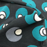 Abstract Printed Crinkled Silk Crepe de Chine - Black/Teal/Grey - Fabrics & Fabrics