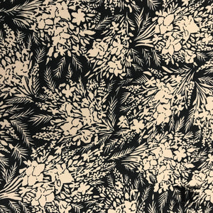 Floral Printed Silk Crepe - Black/Brown - Fabrics & Fabrics
