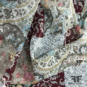 Patch Paisley & Floral Printed Silk Chiffon - Multicolor - Fabrics & Fabrics