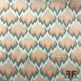 Abstract Printed Silk Shantung - Peach
