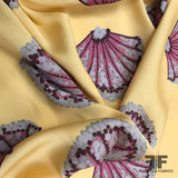 Sea Shell Printed Stretch Silk Crepe de Chine - Yellow
