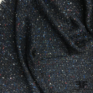 Italian Tweed with Sequin - Midnight Blue - Fabrics & Fabrics