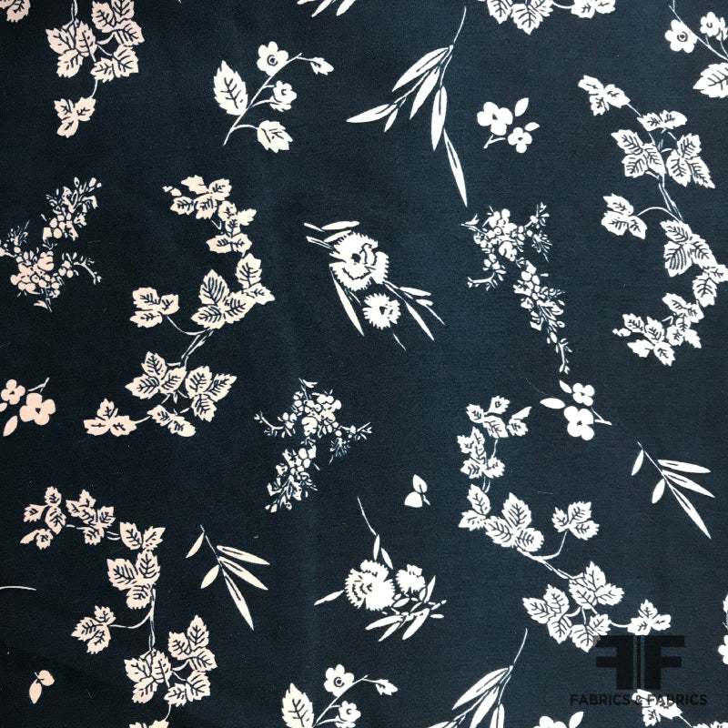 2 Color-19mm Silk stretch satin fabric by the yard-HXY printed white flower navy bluelight pink color silk fabric wedding silk dress