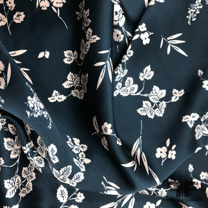 Floral Printed Silk Charmeuse - Navy/Baby Pink - Fabrics & Fabrics
