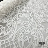 Novelty Embroidered Organza - White