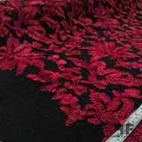 Floral Ribbon Embroidered Lace - Pink/Black - Fabrics & Fabrics