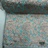 Floral Metallic Brocade - Ice Blue/Rose Gold - Fabrics & Fabrics