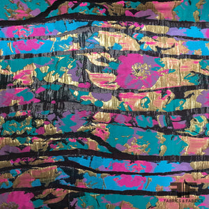 Abstract Floral Metallic Brocade - Multicolor - Fabrics & Fabrics NY