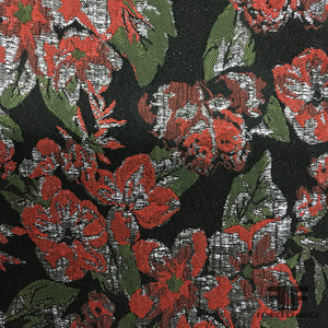 Metallic Rosette Brocade - Black/Red - Fabrics & Fabrics
