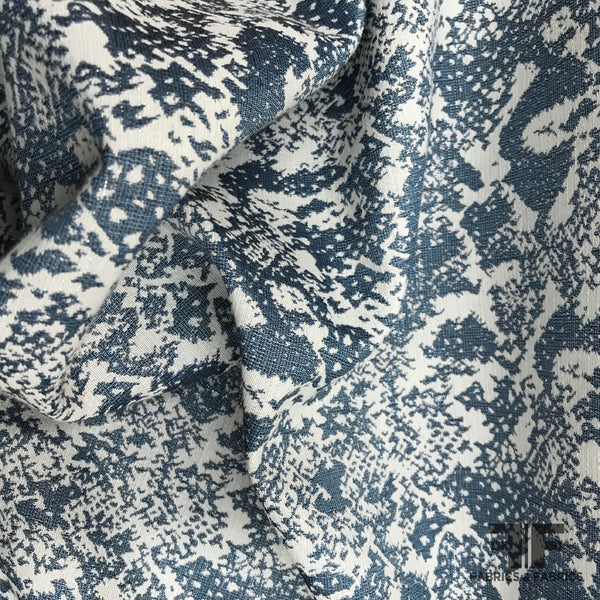Abstract Metallic Brocade - Blue/White - Fabrics & Fabrics