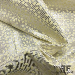 Reversible Metallic Dot & Stripe Brocade - Yellow - Fabrics & Fabrics