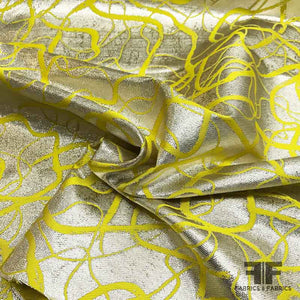 Italian Abstract Swirl Double Sided Metallic Brocade - Yellow/Silver - Fabrics & Fabrics
