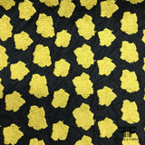 Heavy Embroidered Floral Stretch Netting - Yellow/Black - Fabrics & Fabrics