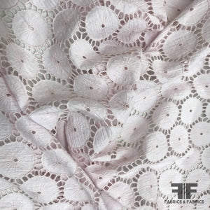 Geometric Cotton Eyelet - Pale Pink