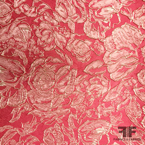 French Textured Rosette Floral Brocade - Pink - Fabrics & Fabrics