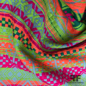 Italian Geometric Novelty Suiting - Neon - Fabrics & Fabrics