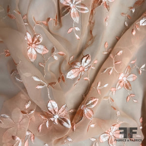 Floral Embroidered Silk Chiffon - Peach - Fabrics & Fabrics