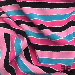 Striped Silk Printed Crepe de Chine - Pink/Blue/Black