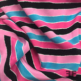 Striped Silk Printed Crepe de Chine - Pink/Blue/Black - Fabrics & Fabrics