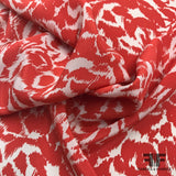 Floral Printed Crepe de Chine - Red/White - Fabrics & Fabrics
