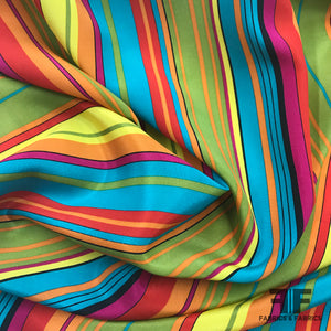 Multi-sized Striped Silk Crepe de Chine - Multicolor - Fabrics & Fabrics