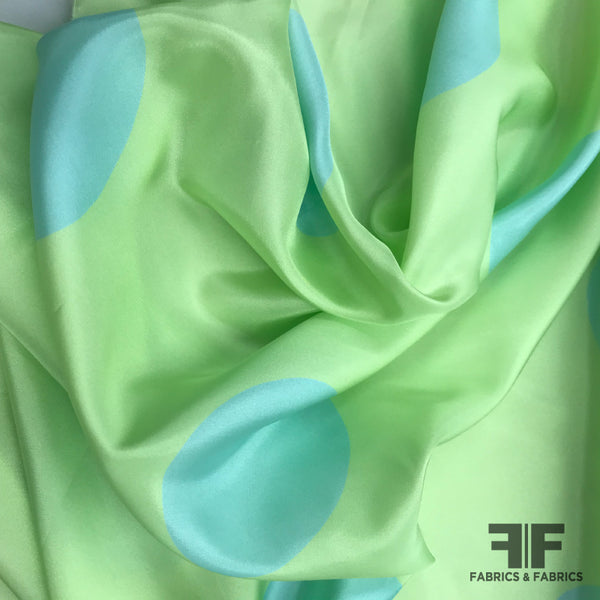 Italian Large Scale Polka Dot Silk Crepe de Chine - Green/Blue - Fabrics & Fabrics